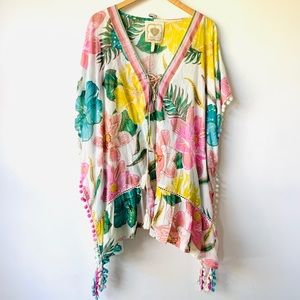 New Cotton Floral Boho Flowy Tunic Cover-up Dress
